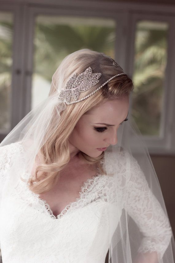 Rhinestone Embellished Juliet Bridal Cap Wedding Veil, Soft Illusion Tulle with Beaded Crystal Leaf Adornments, Style: Abiding Love #1431