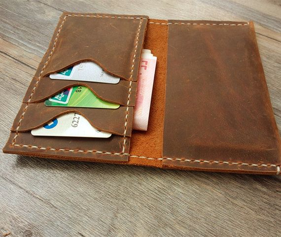 Men's Leather Wallet Case Mens Handmade Vintage Iphone 4S 5S women's passport Wallets Travel Wallet Insert Card Wallets For Men womens-BH004...