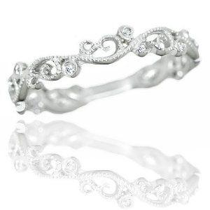 Diamond Art Wedding Band Vintage Estate White Gold Ring Wedding Ring Finger REVIEW