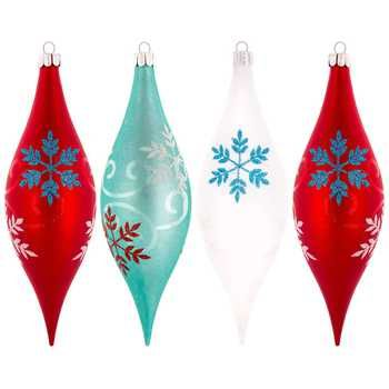Aqua, Red & White Drop Ornaments with Snowflakes | $7.50 Hobby Lobby