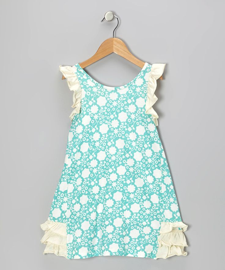 Take a look at this Teal Floral Ruffle Organic Dress - Infant, Toddler & Girls on zulily today!
