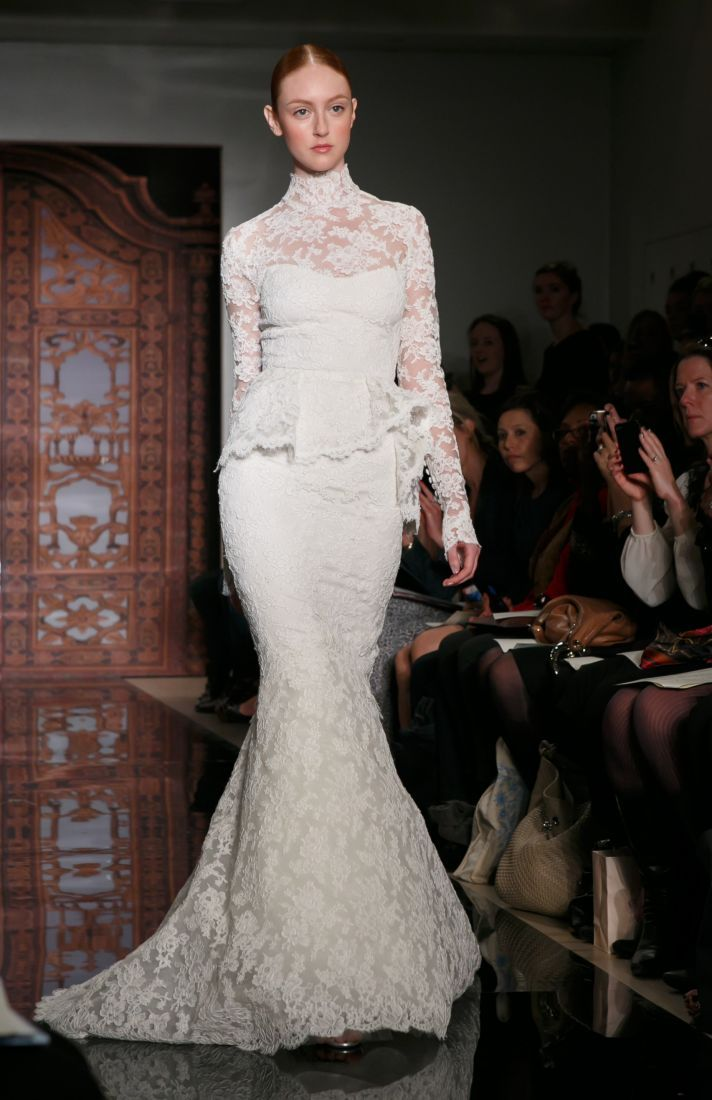 Reem Acra Wedding Dress Fall 2013 Bridal Frances Alluring Beauty Lace Peplum F Dresses And Fashion