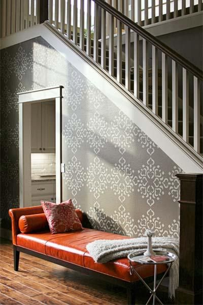 To create this eye-catching design in her foyer, blogger Janell Beals used a large-scale Mirium stencil pattern from whitewallco.com and a sophisticated tone-on-tone color scheme. | thisoldhouse.com