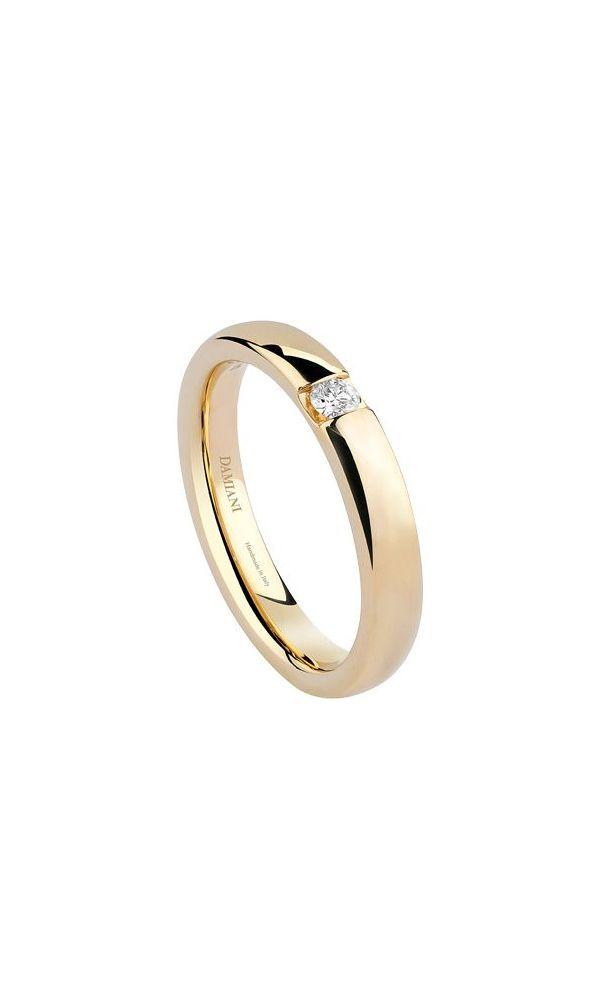 Veramore yellow gold wedding band with external diamond