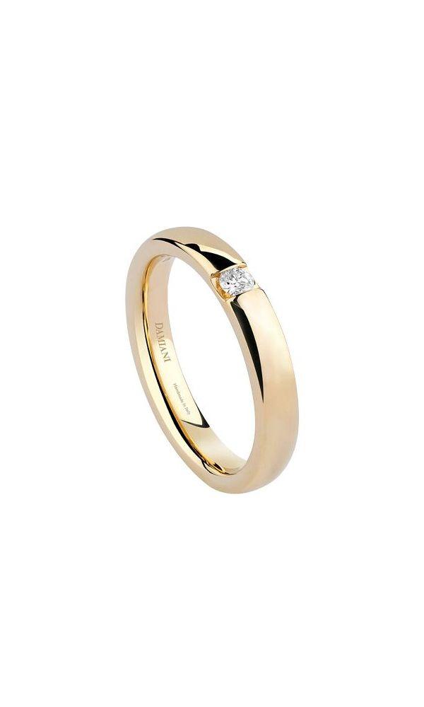 Veramore yellow gold wedding band with external diamond