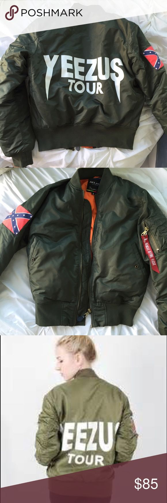 Green yeezus tour bomber jacket Worn once. Amazing quality. Runs big Yeezy Jackets & Coats Puffers