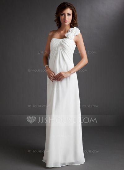 Império Um ombro Chá comprimento De chiffon Vestido para madrinha grávida com Pregueado fecho de correr (045022471)