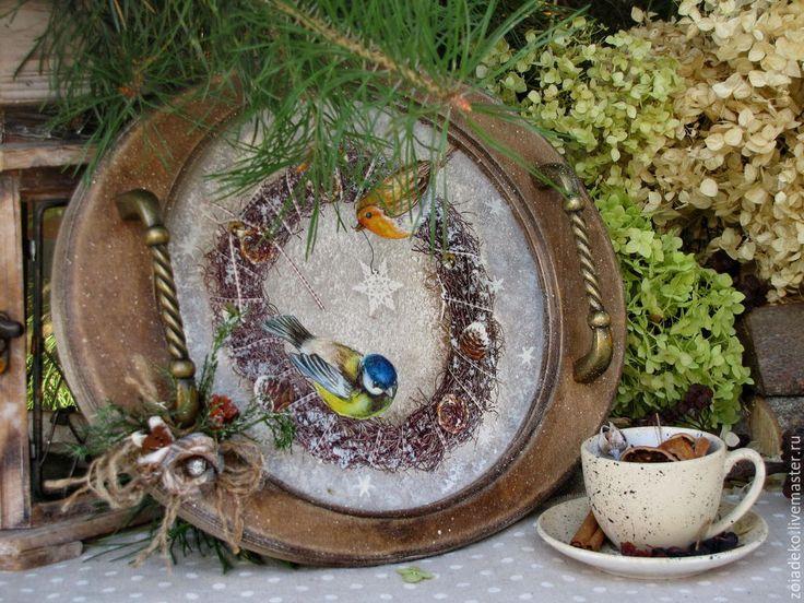 """Купить Поднос из зимней коллекции """"Мой зеленый Новый год"""" - коричневый, поднос, поднос для кухни"""