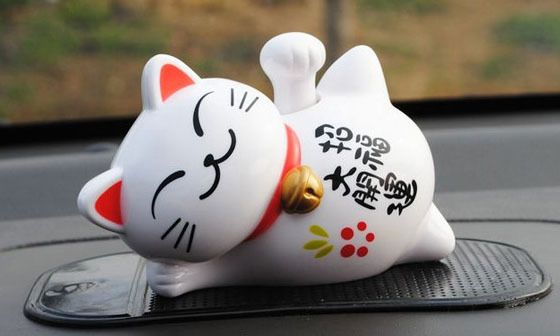 Find More Ornaments Information about Money cat Sleep lazy cat Solar energy Car…