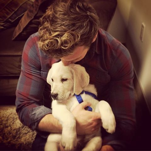 "Derek Theler: ""Dressing room break at work. This guy gets me. #puppylove #melting"" - Feb. 20, 2015."