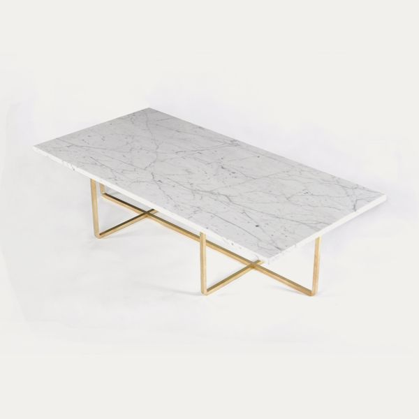 ox denmarq | ninety table: white marble, brass frame