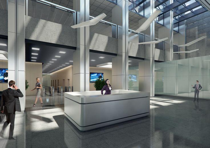 Strefa wejściowa - recepcja projekt dla Oxford Tower Warszawa / Entrance area - reception; Project for Oxford Tower Warsaw