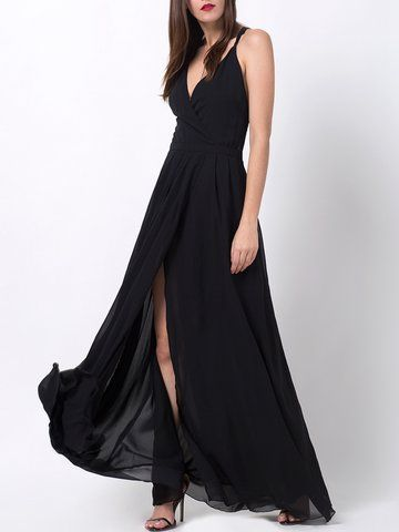 Sexy Slit Hem Backless Camisole V-neck Maxi Dress For Women