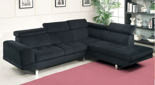 Etonnant Furniture Of America Holt Black Bella Sectional Sofa With Pneumatic Gas  Lift Adjustable Headrests