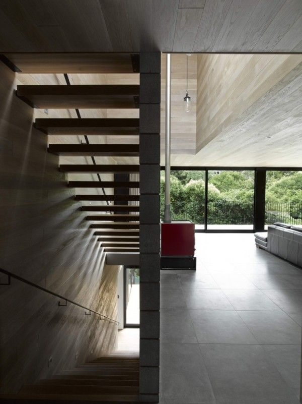 Modern Wooden Stairs Interior from The Best House Design Ideas with Black Wall Exterior Color in New Zealand 600x801 The Best House Design Ideas with Black Wall Exterior Color in New Zealand