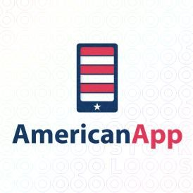 Smartphone Logo Designs made as the american flag For Sale on Stock Logos | AmericanApp logo