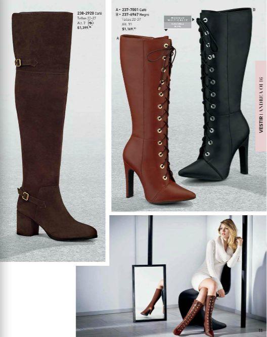 Botas Andrea para Mujer. Botas con tacon 7 y 11 cm. Botas altas, botas color negro, botas modernas juveniles