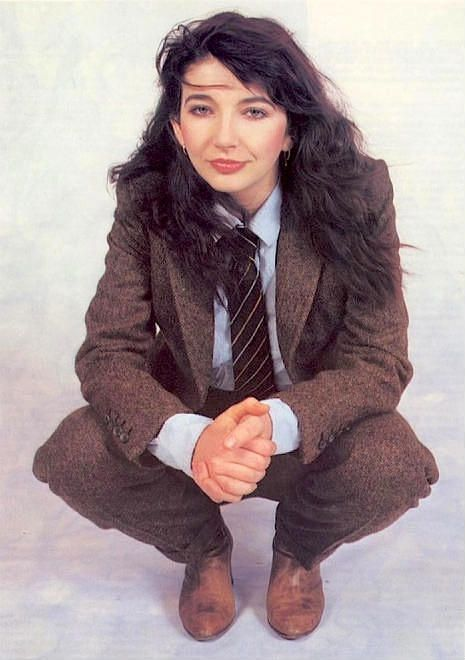 Kate Bush in suit and tie.