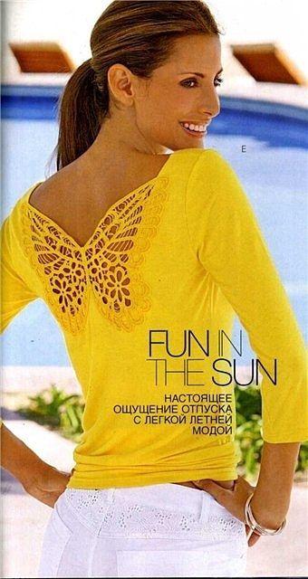 camiseta amarela com borboleta