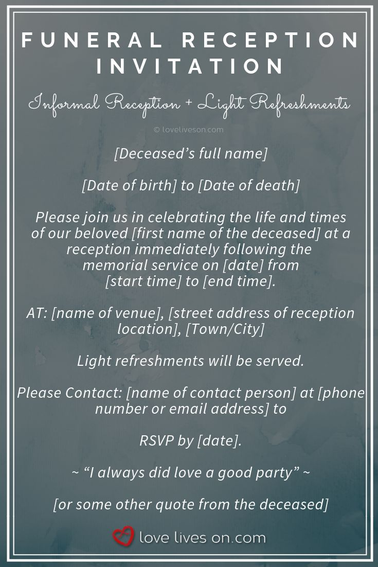 39 best funeral reception invitations in 2019
