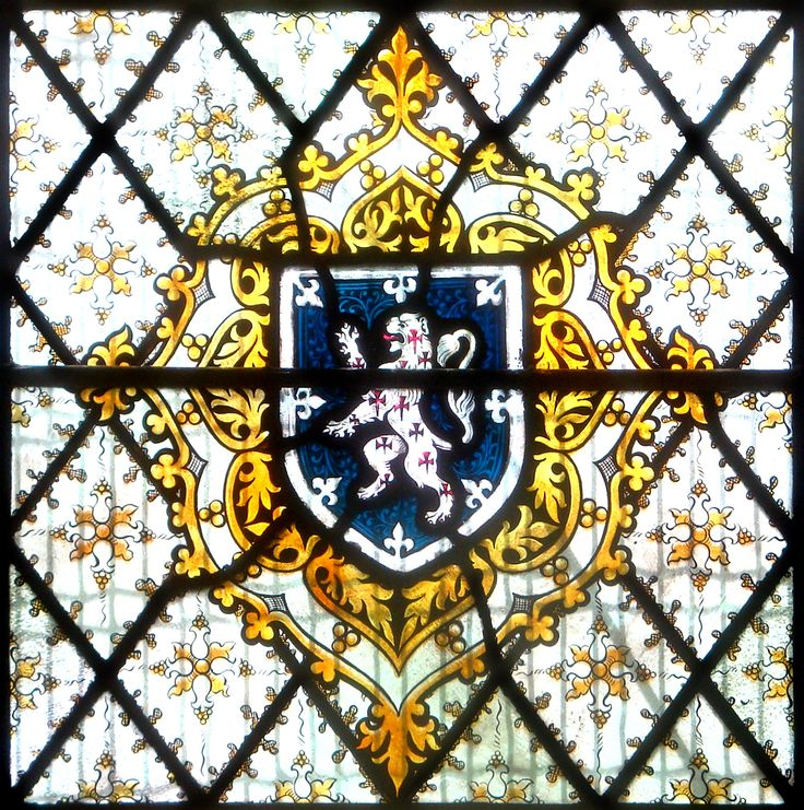 Heraldic detail from the Pusey Window in St Chrysostom, Victoria Park, Manchester, England