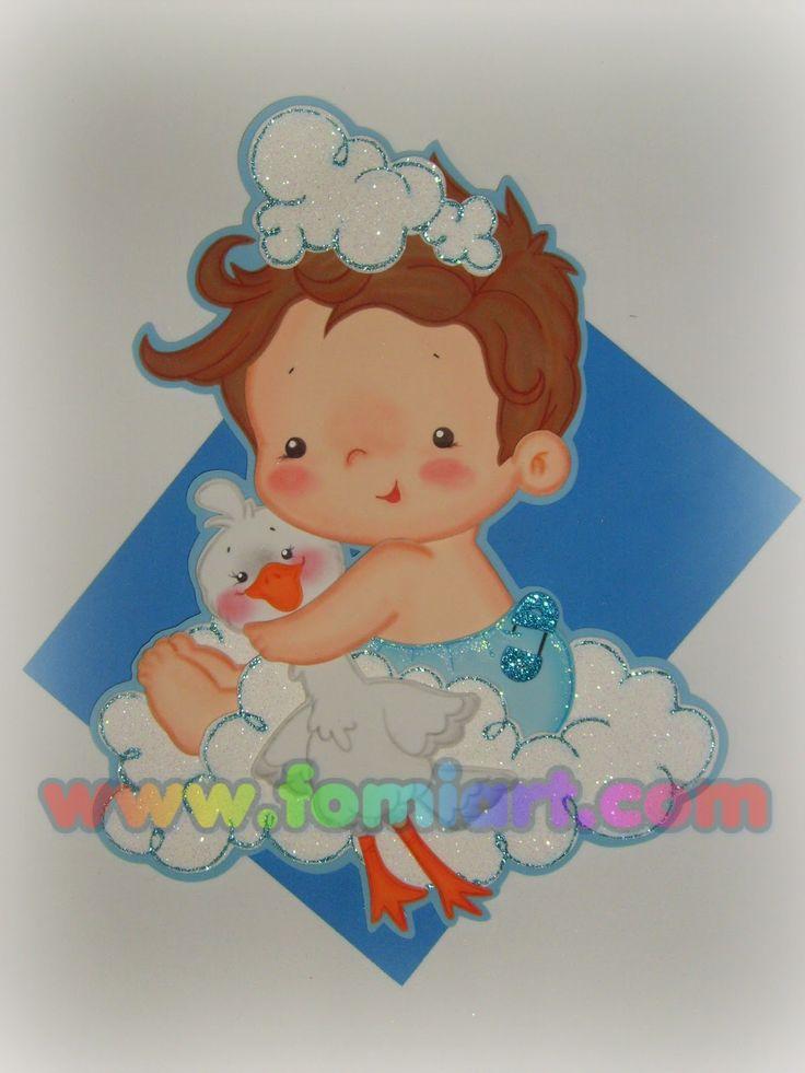 Bebé con cigueña decorado en foami,fomi goma eva