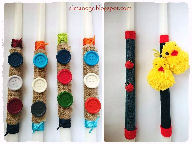 Easter candles with handmade buttons wax crayons or handmade pom-pom ducks