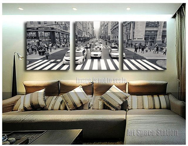 3 Pieces New York City Street View CANVAS PRINT WALL ART Black and White Poster,People traffic taxi Picture Home Decorations