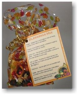 BLESSINGS MIX -  Small bags of snack mix with a seasonal theme, each ingredient in Blessings Mix reminds us of our blessings.  Use them as table favors, workplace gifts or party treats at Thanksgiving, Christmas, or to celebrate American holidays such as Independence Day or Veterans Day--and bring home the values that underlie each occasion