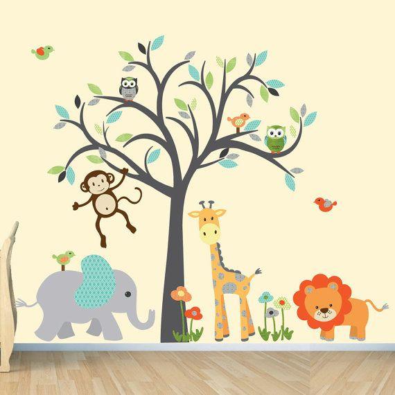 Safari Wall Decal, Nursery Wall Decal, Jungle Animal wall decal, monkey decal, Modern Boy Design with Orange Lion