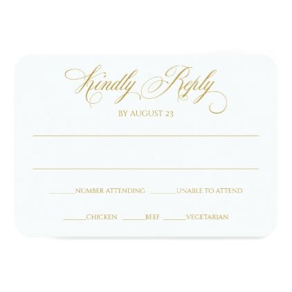 Elegant RSVP Reply Card | Charlene (Gold) - calligraphy gifts custom personalize diy create your own