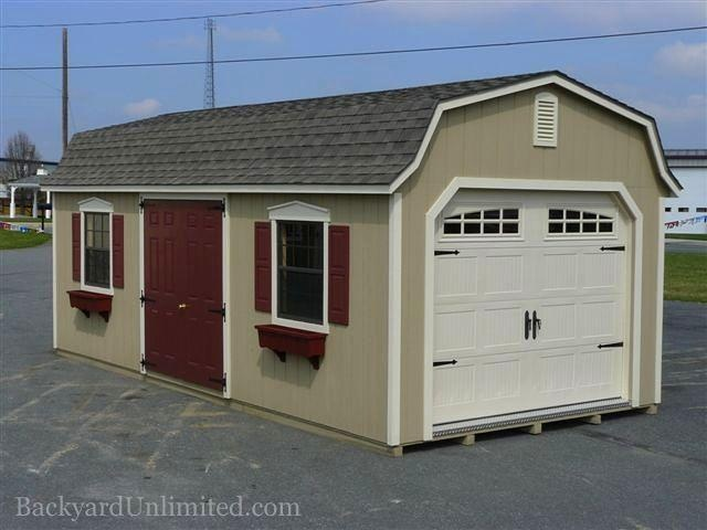 12'x24' Dutch Colonial Garage with Heritage Garage Door, Gable Vent, Painted Double Fiberglass Door Upgrade, and Vinyl Flower Boxes http://www.backyardunlimited.com/sheds/dutch-colonial-sheds