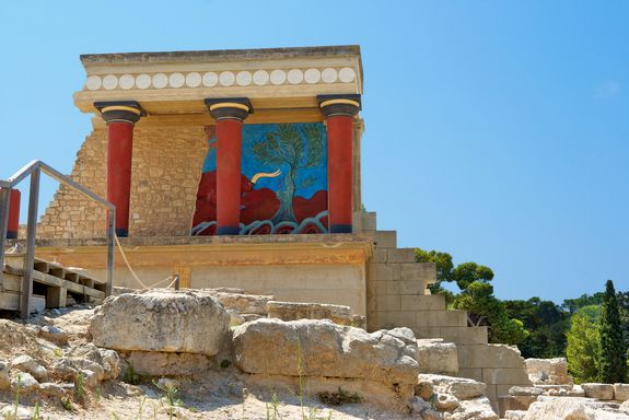 The north entrance of the Palace of Knossos on the Greek island of Crete.  CREDIT: Andrei Nekrassov | Shutterstock