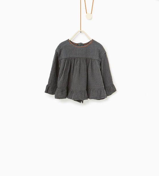 ZARA - KINDEREN - Geborduurde wijde blouse