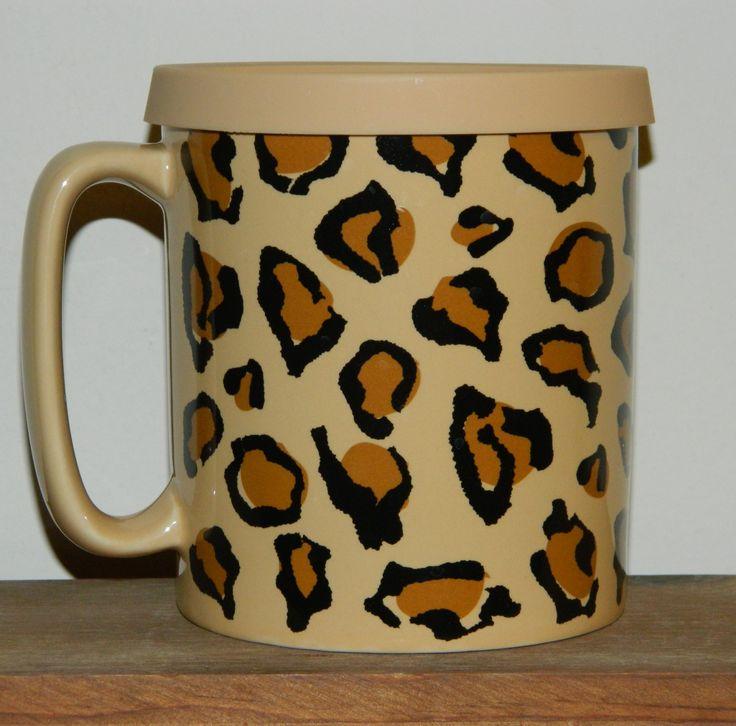 Old Pottery Company: Tan Print Mug with Tan Silicone Lid | Just Mugs Limited - Leopard, $15.00 #Ceramic #TJMaxxFinds