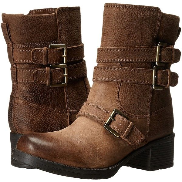 Rockport City Casuals Rola Buckle Bootie (Nutella Tumble WL) Women's... ($100) ❤ liked on Polyvore featuring shoes, boots, ankle booties, ankle boots, brown, long brown boots, engineer boots, brown boots, platform booties and brown ankle booties