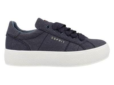 100% authentic 79bb4 045ac ... Esprit Sneaker Laag Dames Flatform - 4a75187 Blauw 88014fea ...