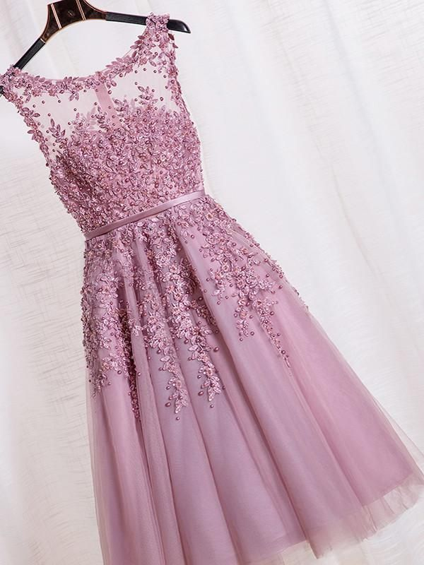 Sale Lilac Homecoming Party Dress Splendid Short Party Dresses With A-line/Princess Zipper Beaded/Beading Dresses