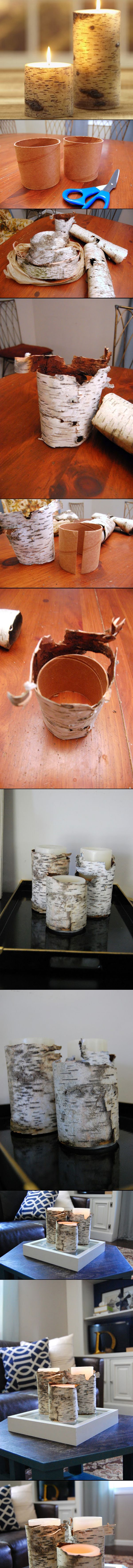 ABSOLUTELY AWESOME!!! Wish I lived near birch trees! Birch Bark Candles | great gifts! Or wrap A straight sided pot or can! Gives INSTANT Outdoor Elegance!