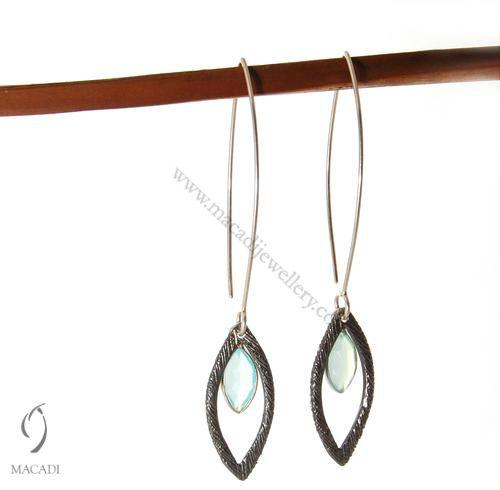Marquise Wishbone Earrings with Aquamarine