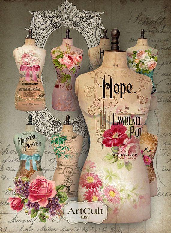 TORSO de hoja Collage imprimible vestido forma imágenes