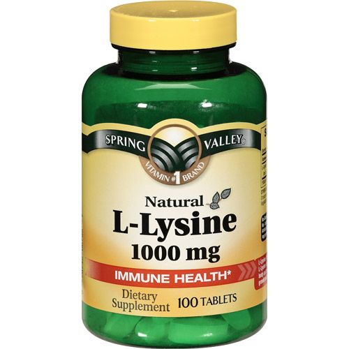 Spring Valley Natural 1000mg L-Lysine Tablets for preventing/treating cold sores.