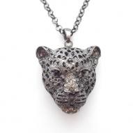 Rihanna Necklace - Black / Grey - Leopard Head Design