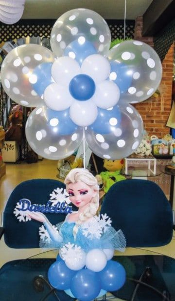 Decoracion con globos frozen disney
