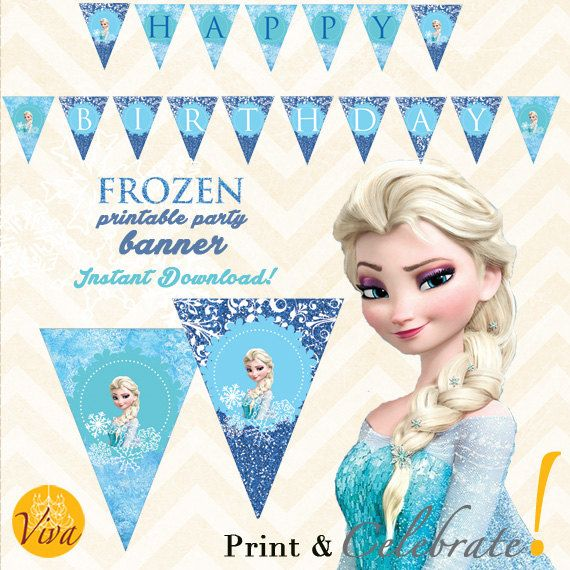 Frozen Birthday Banner Printable Frozen Banner Party By: 92 Best Images About VIVA Print & Celebrate! On Pinterest