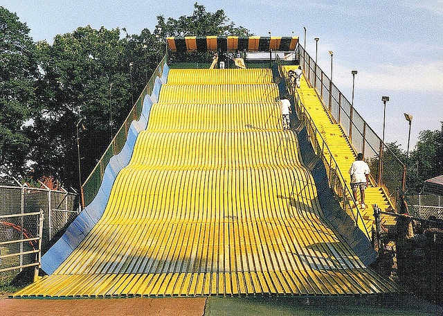 A ball of terrified fun! LOL! This giant yellow slide - Belle Isle Park