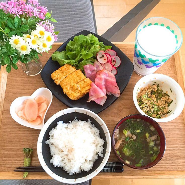 Makins's dish photo 7 7 七夕様の日 主人の朝ごはん | http://snapdish.co #SnapDish #七夕 #朝ご飯 #ハム/ソーセージ/ベーコン #卵焼き #納豆