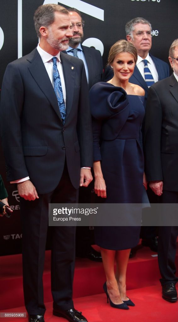 King Felipe of Spain and Queen Letizia of Spain attend the 'As del Deporte' and 'As' sports newspaper 50th anniversary dinner at the Palacio de Cibeles on December 4, 2017 in Madrid, Spain.
