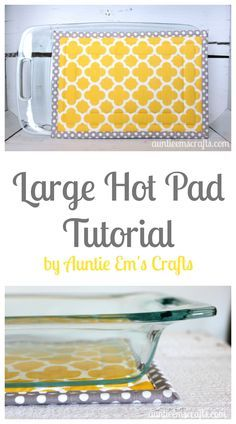 Grab any two fat quarters and some scrap batting. In about an hour, you can make yourself a large hot pad to protect your counter and table. Tutorial available on http://AuntieEmsCrafts.com
