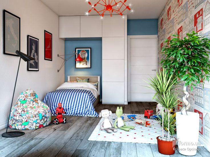 Креативный лофт, Space Options , Детская комната, Дизайн интерьеров, комната для мальчика, комната для девочки, синие стены, серые стены, красная люстра